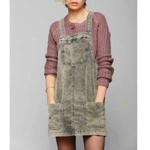 NWT OU BDG grey green overall pocket dress szS